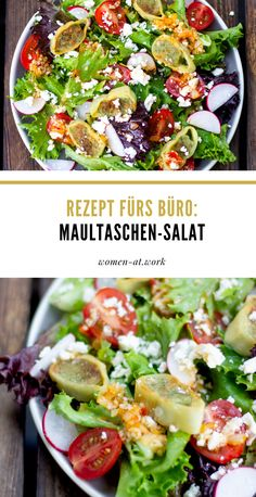 Maultaschen Salat It is no longer necessary to eat traditional dumplings. Essen To Go, Healthy Salads, Healthy Recipes, Lunch To Go, Recipes From Heaven, Rigatoni, Creative Food, Food Design, Going Vegan