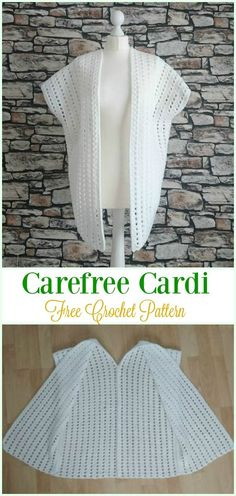 Womens Sweater Knitting Patterns Crochet Carefree Cardi Free Pattern - #Crochet, Women Summer Jack...