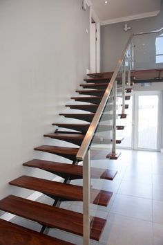 Best Custom Mild Steel Staircase Timber Treads And Side Fixed 400 x 300
