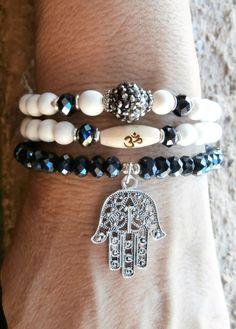 Set of 3 Yoga bracelets Om bead Hamsa hand by LifeForceEnergy, $29.00