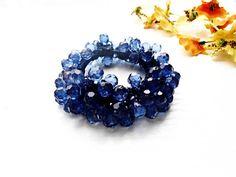 Hair Scrunchie Royal Dark Blue Cotton Crochet Embroidery