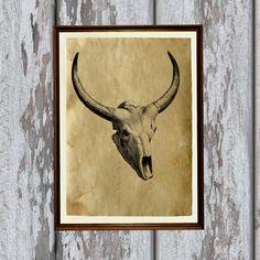 Ox skull print Antique paper Antiqued decoration 8.3 x by artkurka
