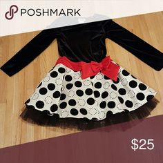 Dress Swede With Red Bow Black Pocka Dot With Tool Holiday Dress Rare Editions Dresses Formal