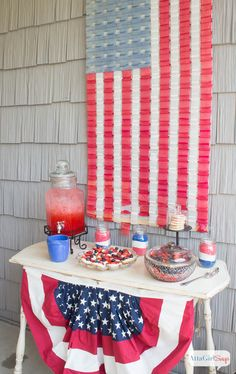 Patriotic Fourth of July Party Ideas, Recipes and Decorations Patriotic Party, 4th Of July Party, Fourth Of July, Patriotic Crafts, 4th Of July Decorations, Table Decorations, Target Decor, July Crafts, Flag Decor