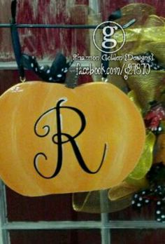 Wooden Pumpkin with Initial