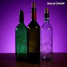 Bottle Lights Do you have lots of empty glass bottles at home? Thinking of how to make it useful? Recycle it and make it a home decoration with this Bottle Lights! Bring more lights at home and turn y Empty Glass Bottles, Glass Bottle Crafts, Wine Bottle Art, Lighted Wine Bottles, Recycled Wine Bottles, Decorative Glass Bottles, Wine Bottles Decor, Decorating Wine Bottles, Whiskey Bottle Crafts