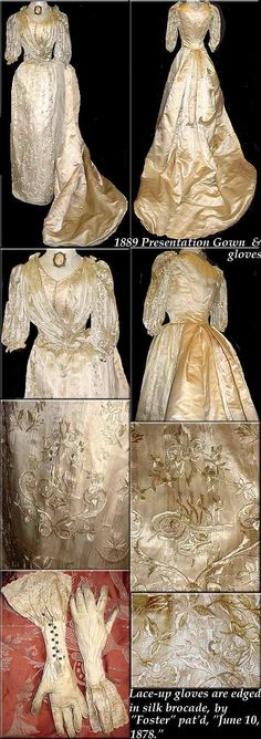 gloves Brocade fancy 1878 Foster AMAZING with Gown PRESENTATION Bustle EMBROIDERED 1889 Victorian