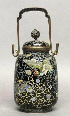 A small cloisonné enamel covered jar - Meiji Period