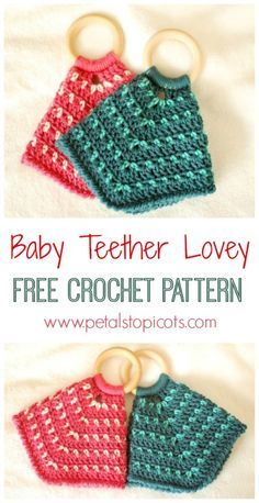 This teether lovey crochet pattern is not only cute and cuddly but will help provide much needed comfort and relief for teething babies. The blanket body makes it easy for baby to grasp and hold. This lovey is the perfect gift for any new mom and b Crochet Baby Blanket Beginner, Easy Baby Blanket, Crochet Blanket Patterns, Baby Poncho, Crochet Poncho, Crochet Blankets, Baby Patterns, Crochet Gratis, Crochet Toys