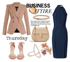 """Business Attire"" by misshonee ❤ liked on Polyvore featuring Thierry Mugler, Balmain, Stuart Weitzman, FOSSIL and Diane Kordas"