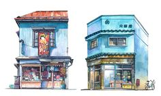 mateusz urbanowicz's charming watercolors document the disappearing storefronts of tokyo