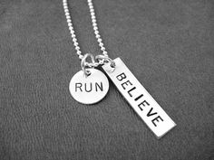 RUN BELIEVE Sterling Silver  Choose 16 18 or 20 inch by TheRunHome, $33.00