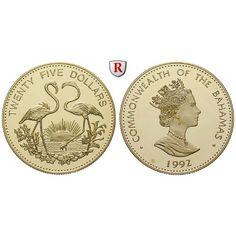 Bahamas, Elizabeth II., 25 Dollars 1992, 3,92 g fein, PP: Elizabeth II. seit 1952. 25 Dollars 3,92 g fein, 1992. Zwei rote… #coins