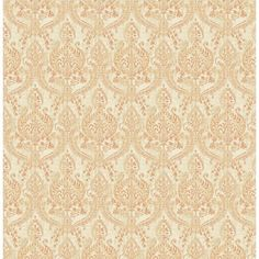 A - Street Prints Kismet Waverly Petite Damask Wallpaper Rust - 1014-001818