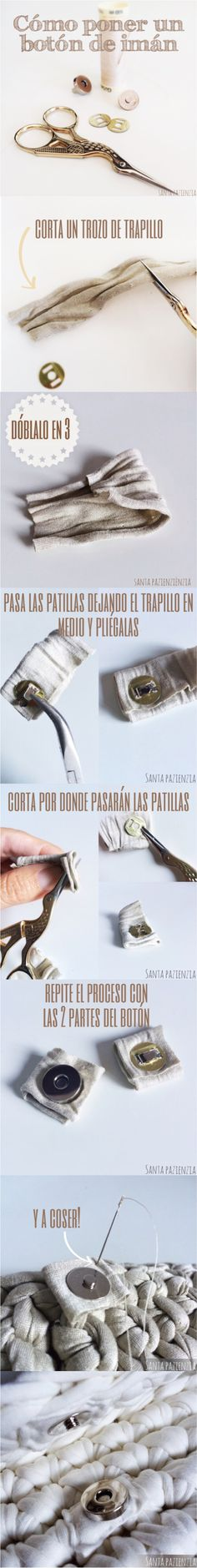 Cómo poner un botón de imán en un bolso de trapillo www.santapazienzia.com