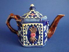 Fine Cobalt Majolica Aesthetic Movement Hexagonal Teapot c1870