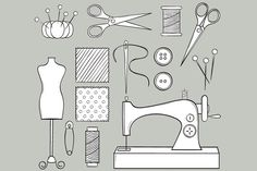 Hand Drawn Sewing Set by LoveGraphicDesign on @creativemarket