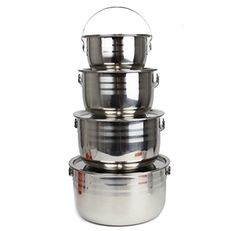 Wealers Stainless Steel Outdoor Pots  Cookware SelectASize Pot Set is Great for Camping Hunting Hiking Backpacking BBQ or a Picnic Full Set  All Sizes Included *** You can find more details by visiting the image link.Note:It is affiliate link to Amazon. #HikingPassion