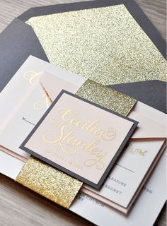 A coal, soft pink and #gold wedding invitation suite from Engaging Papers - complete with gorgeous #glitter! https://engagingpapers.com/wedding-invitations?product_id=516