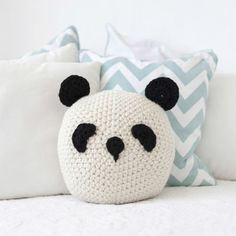 mommo design: PANDA LOVE - panda crochet pillow
