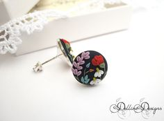 Meadow Unique Polymer Clay Earrings Sterling by DellineDesigns