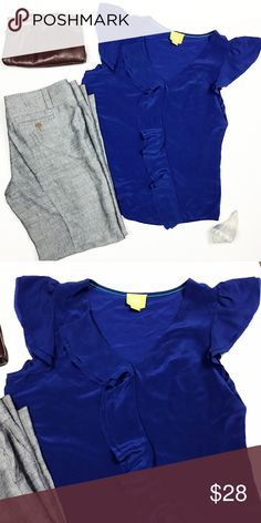 Maeve Anthropologie blue silk ruffle top sz 12 Maeve Anthropologie cobalt blue 100% silk ruffle diagonally down front. Flutter sleeves. Size 12. Ptp 20, length 25. Purse and pants also available ask for a tag Anthropologie Tops Blouses