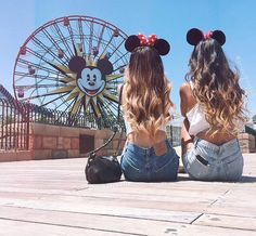 adorable, animal, beach, best friends, bff, brunette, crop top, cute, disney, disney world, ears, fashion, friends, girl, girly, jean shorts, long hair, mickey mouse, minnie mouse, purse, sandy, short (Best Friend Tumblr)