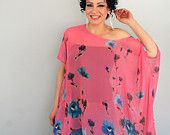 Oversized floral top - chiffon box tshirt - one size fits most - only one piece in pech pink and blue http://www.etsy.com/treasury/MTAzNTIxODZ8MjcyMjk2NjM0OA/a-mod-summer-day