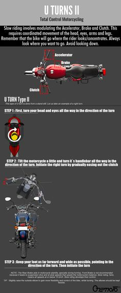 Motorcycle U turns made easy with Onemoto's bike riding tips. The 2 types of U turns can be done easily once you learn to control your bike's clutch & brake Bike Riding Tips, Riding Gear, Go Rider, U Turn, Coaching, Motorcycle, Training, Motorcycles, Motorbikes