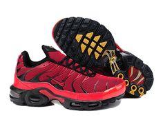 Chaussures de Nike Air Max Tn Requin Homme  Rouge et Noir Tn Nike Pas Chere