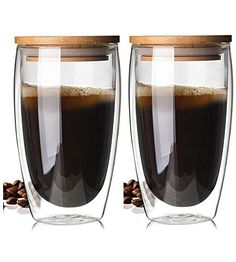 Portable Bodum Double Wall Glass Cup With Bamboo Lid Insulation Mug Coffee Mug Glass Coffee Mugs, Coffee Cups, Espresso Cups, Kitchen Jars, Heat Resistant Glass, Cool Kitchen Gadgets, Custom Glass, Kitchen Collection, Great Coffee