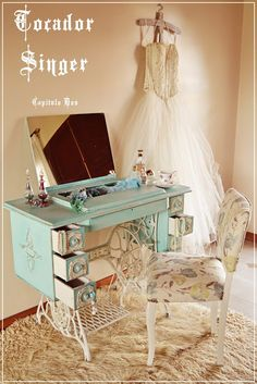 Antique sewing machine upcycled as vanity