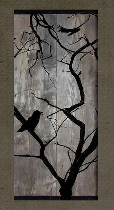 Pájaros en un árbol desnudo Set de 2 pinturas por TKreclaimedART