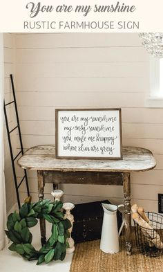 Shabby chic home decor | You are my sunshine, my only sunshine, you make me happy when skies are gray | black and white painted wood sign | living room, den, office, kitchen decor | modern farmhouse rustic style home decor | minimalist sign | #affiliate #shabbychic #farmhouse #minimalism