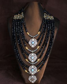FARIA SIDDIQUI, Labradorite, Pyrite & Black Crystal Statement Necklace