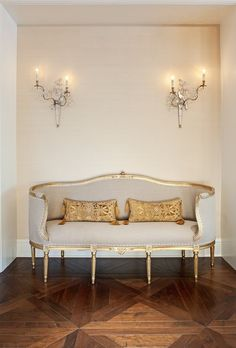 Jamie Herzlinger: Elegant seating area with Walnut Hardwood flooring in a traditional Parquet style. ...