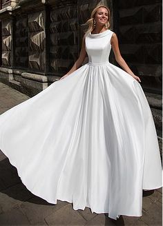 Romantic Satin Jewel Neckline A-Line Wedding Dress With Beadings