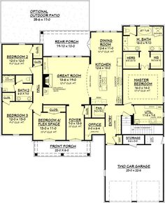 Searching for a large, open floor house plan with an Acadian design? The Gatlin … Searching for a large, open floor house plan with an Acadian design? The Gatlin Plan from House Plan Zone is exactly what you need! Check it out now! Open Floor House Plans, New House Plans, Dream House Plans, My Dream Home, Dream Homes, 4 Bedroom House Plans, 2200 Sq Ft House Plans, Family House Plans, Ranch House Plans