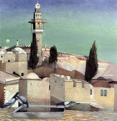 The Mount of Olives in Jerusalem -Tivadar-Kosztka-Csontváry-hungarian-painter- Israel History, Holland Windmills, Mount Of Olives, Up House, Post Impressionism, Oil Painting Reproductions, Italian Artist, Wassily Kandinsky, Paris