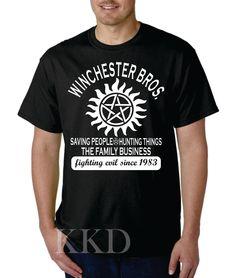 Winchester Brothers, Black, Short Sleeve T-shirt by KKDcustomized on Etsy