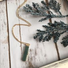 Green stone necklace Brand new! Looks beautiful layered. Brushed gold chain Jewelry Necklaces