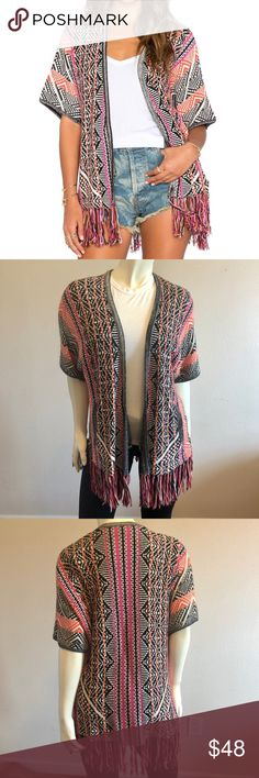Ella Moss Fringe Kimono Ella Moss Malika Fringe Kimono in Tangelo  Condition: Excellent / Gently Worn  Open-front cardigan in multicolored patterning featuring short sleeves and fringe trim  33% Viscose/23% Nylon/20% Cotton/20% Wool/4% Cashmere Ella Moss Sweaters Cardigans