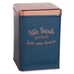 Boîte à biscuits en métal bleu -