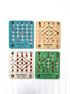 Vintage BINGO Cards (Set of 4) Bingo Cards, Sliders, Road Trip, Fun, Vintage, Color, Road Trips, Colour, Vintage Comics