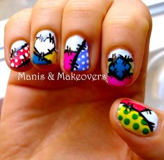 Who Wants To Try These Patchwork Nail Arts? Sally Costume, Nail Art Videos, Diy Nails, Manicure, Nail Tutorials, Nail Arts, Easy Peasy, You Nailed It, Nail Art Designs