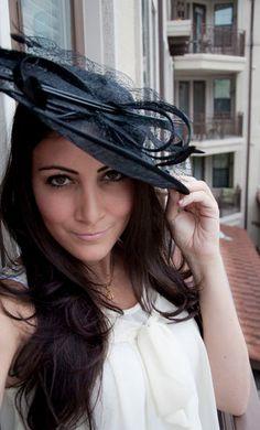 Black Fascinator Hat - Wendy Wide Slightly brimmed mesh Fascinator Hat on a Headband via Etsy