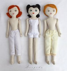 a Bespoke Beauty -  custom made to order vintage inspired rag doll. $168.00, via Etsy.