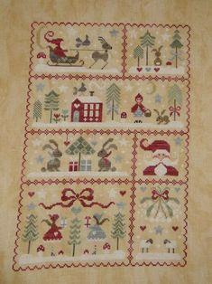 Voilà terminé ce superbe tableautin qui nous promène dans l'ambiance de Noël... Je me suis régalée à broder chaque scénette. Promenade bucolique, rencontre avec le Père Noël et ses amis les animaux. Message d'amour et d'amitié... Et cela tombe bien je...