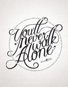 You'll never walk alone Poster - Eventueel als poster of als canvasdoek afdrukken samen met de zwartwit foto's hieronder. Een stuk stijlvoller dan opvallende rood-wit foto's