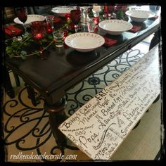 I painted our bench white, then doodled special memories on it with a paint pen. It's my own handwriting and meant to look real, not stenciled and perfect. You could do this on any piece of furniture.